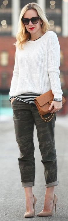 boyfriend camo pants with layered sweater, heels, and bold lip. sophisticated with a boyish edge.