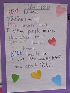 Interactive Writing Lesson for the poem/song I Like Hearts! Easy to do with K's