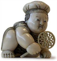 19th Century Japanese Carved Ivory Netsuke Karako by Gyokuzan