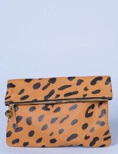 Clare Vivier jaguar print foldover clutch at Bird : ShopBird.com