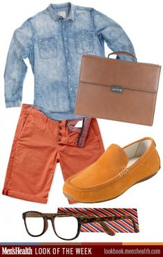 Mix warm and cool colors for simple contrast in your outfits.   Shoes: Cole HaanShirt: Life After DenimShorts: Ben ShermanBag: Ferragamo Gla...