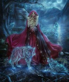 """""""Other fairy tales: Little Red Riding Hood. which of us in the childhood didn't read old kind fairy tales, their p. Other fairy tales: Red Riding Hood. Wolf Spirit, Spirit Animal, Fantasy World, Fantasy Art, Red Riding Hood Wolf, Wolves And Women, Wolf Images, Wolf Love, Unicorn Art"""