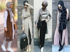 Hijab street styles came in different looks and different styles just to satisfy all kinds of tastes. As we can see here some chic comfy looks for the modern Vest Outfits, Hijab Outfit, Casual Outfits, Fashion Outfits, Street Hijab Fashion, Abaya Fashion, Women's Fashion, Arab Women, Muslim Women