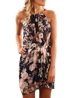 Summer Halter Dress With Belt Floral Print Sleeveless Casual Mini Irregular Beach Holiday Knee Mini Dresses Vestidos Size S Color Black Vestidos Halter, Evening Dresses, Summer Dresses, Party Dresses, Mini Dresses, Different Dresses, Ideias Fashion, Fashion Dresses, Clothes For Women