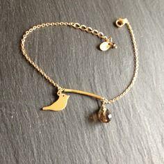 Bracelet oiseau quartz fumé