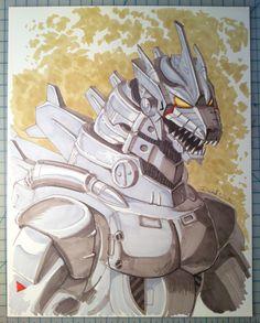 Mecha Godzilla Marker Sketch by Mecha-Zone on DeviantArt Godzilla Wallpaper, Robot Monster, Mecha Anime, Classic Monsters, Sketch Markers, Anime Fantasy, King Kong, Cultura Pop, Cool Art