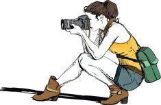 카메라, 여성, 소녀, 사진사, 사진, 사람들, 좌석, 쪼 그리고, 여자