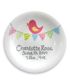 Another great find on #zulily! Bitty Bird Personalized Birth Announcement Plate #zulilyfinds