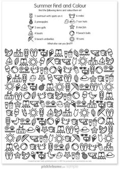 Summer Find and Colour Activity - free printable fun! - - Summer Find and Colour Activity – free printable fun! Summer Find and Colour Activity – free printable fun! Color Activities, Summer Activities, Hidden Pictures, English Activities, Activity Sheets, Summer School, Coloring For Kids, Colouring Pages, Teaching English
