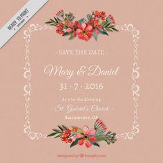 飾りに花で飾られ結婚式の招待状 無料ベクター