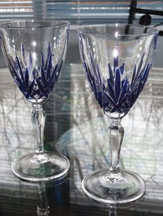 Crystal Wine Glass, Hand Painted Cobalt Blue.