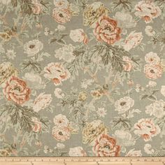 Waverly Among the Roses Bloom from @fabricdotcom  Screen printed on natural cotton duck, this versatile lightweight fabric is perfect for window accents (draperies, valances, curtains and swags), accent pillows, duvet covers and upholstery. Create handbags, tote bags, aprons and more. Colors include cream, taupe, brown, shades of green and pink and pale blue.