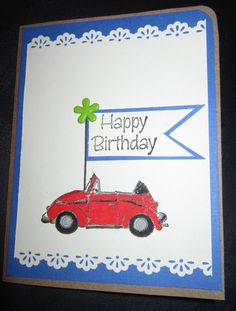 Volkswagen birthday cards   Birthday Card - VW Bug stamp, color markers, scalloped edge puncher