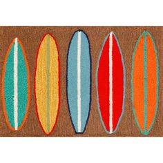 """<p> <span style=""""font-weight: bold;"""">Surfboards</span> Indoor/ Outdoor Mat features bold colored surfboards on a natural color background. This is a coastal rug that is sure to liven up any space. The content and quality of this hand tufted, synthetic blend rug will hold up to indoor or out door use.<br /> <br /> Three Sizes:</p> <ul>%..."""