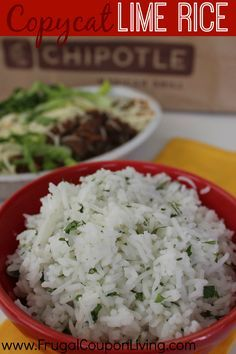 Copycat Lime Rice from Chipotle and more copycat recipes on Frugal Coupon Living.