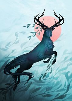 """kajoi: """" It's a kelpie stag (or a water stag instead of a water horse. I love the myth!) I should paint animals more, this was actually quite much fun. """""""