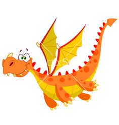Flying dragon vector image on VectorStock Photo Dragon, Dragon Medieval, Online Coloring For Kids, Dragon Kid, Cartoon Dragon, Dragon Illustration, School Murals, Cute Dragons, Clip Art