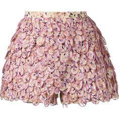 Giambattista Valli Scallop Layered Shorts (14.515 HRK) ❤ liked on Polyvore featuring shorts, giambattista valli, multicolour, silk shorts, scalloped shorts, multi colored shorts and scallop hem shorts
