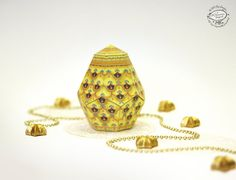 DIY Yellow Easter Egg  Paper Box Template  Geometric by SkyGoodies