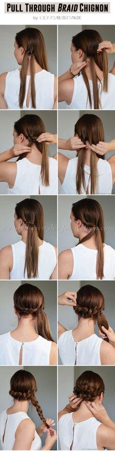 pull through braid chignon