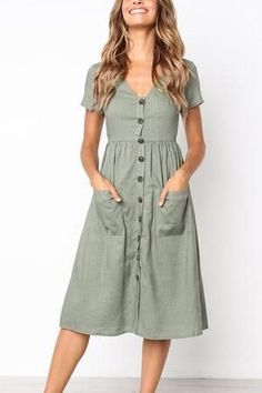 V neck patch pocket single breasted plain skater dress casual outfits in 20 Simple Dresses, Casual Dresses For Women, Sexy Dresses, Cute Dresses, Midi Dresses, Awesome Dresses, Simple Dress Casual, Casual Midi Dress, Work Dresses