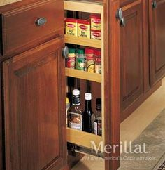 Base Filler Pantry Pull-out - Masterpiece® Accessories - Merillat® cabinetry. Slim cabinet fits where conventional cabinets can't, for optimum storage. Perfect for small bottled and boxed items or seasonings.