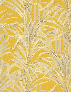 DOMITILLE Wallpaper non-woven tropical pattern, mustard yellow - Motif Tropical, Tropical Pattern, Tropical Leaves, Tropical Prints, Tropical Style, Mural Wall Art, Yellow Submarine, Fabric Textures, Funny Wallpapers