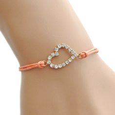 Rhinestone Heart Adjustable Peach Waxed Cord Bracelet by Love♥ Arm Candy