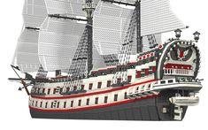 My first custom hull lego ship - 80 gun rate ship of the line. Bateau Pirate Lego, Bateau Lego, Lego Pirate Ship, Lego Ship, Lego Creator Sets, Legos, Lego Boot, Lego Gifts, Lego Army