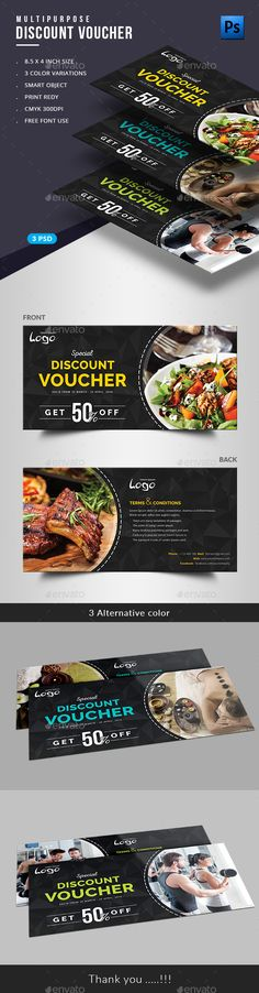 Multipurpose Gift Voucher - Loyalty Cards + Membership Card + Coupon Card Template Design | Download http://graphicriver.net/item/gift-voucher/16725124?ref=themedevisers