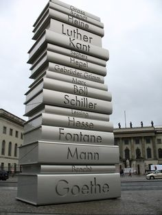 "A sculpture commemorating German writers and poets in the Bebelplatz, in Berlin. The sculpture was made by the German design team Sholz & Friends, as part of a 2006 project called the ""Walk of Ideas."""
