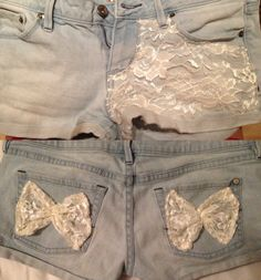 DIY shorts with bows! Diy Clothes And Shoes, Diy Summer Clothes, Summer Diy, Diy Clothing, Punk Fashion, Diy Fashion, Diy Shorts, Altering Clothes, City Style