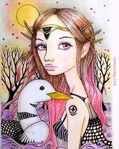 Instagram media comecome.cat -  今回はフォロワーさんが塗られていた毛先ピンクの女の子と同じ髪色の妖精さんです  #大人の塗り絵 #コロリアージュ #ぬりえ #컬러링북 #TanyaBond #coloriage #coloringbook #adultcoloring #adultcoloringbook