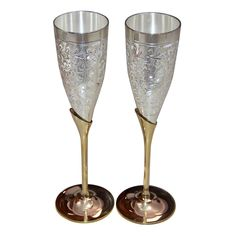 Indian Handmade Silver Gold Plated Coated Brass Wine Goblet Glass Set Of 2 Pcs