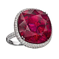 From Hamilton's Rare Gemstone Collection, handmade ring set in 18k white gold with 30 carat rubellite and pave diamonds. The rubellite is a particularly beautiful gemstone from the colourful family of the tourmalines. Its colour shines in the most beautiful nuances from red, such as this stunning ring, to shocking pink.