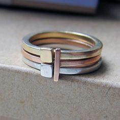 14k gold stack ring set, yellow pink and sterling, modern industrial, artisan metalsmith, geometric rings, Metropolis stack