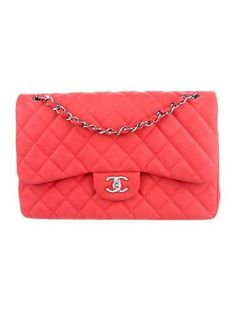 d09f8a194d6af5 #CHANEL | Coral quilted Caviar leather Chanel Classic Jumbo Double Flap bag  with silver-