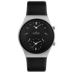 Skagen Midsize 733XLSLB Steel Collection Dual Time Black Leather Watch Skagen. $48.50. Japanese movement.. 37mm diameter steel case and 9mm case thickness.. Leather band with Buckle clasp.. water resistant at 100 feet. Black dial with Hardened Mineral crystal. Save 64% Off!