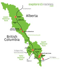 map of banff national park  Map of Banff and Jasper National Park