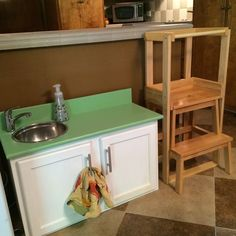 homemade learning tower and real faucet for little sink