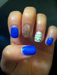 Blue and gold shellac nails