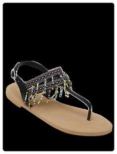 c1127111d2e Fringe Geometric Pattern Sandals (Black)