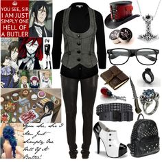 So I Started To Watch Black Butler And Like...I Love It >:3 by xxxburningcoldxxx on Polyvore featuring James Perse, Forever 21, Balmain, Gisele Ganne, Burton, Rustico and Sebastian Professional