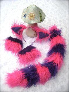 ChesHire CaT Costume Fur 4 Piece SET // Ears -Tail - Wrist Cuffs - Leg Warmers // cosplay phunky retro neon furry adult unisex. $94.00, via Etsy.