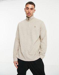 Polo Ralph Lauren icon logo half zip sweatshirt in beige heather Polo Ralph Lauren, Sweat Shirt, Teen Boy Fashion, Pullover, Logos, Long Sleeve, Fitness, Sweaters, Mens Tops