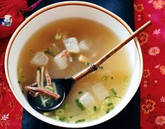 From the rich broth to the velvety cubes of winter melon — a gourd commonly u. Winter Melon Soup, Chicken Broth Soup, Asian Recipes, Ethnic Recipes, Chinese Recipes, Asian Foods, Melon Recipes, Dried Scallops, Chinese New Year Food