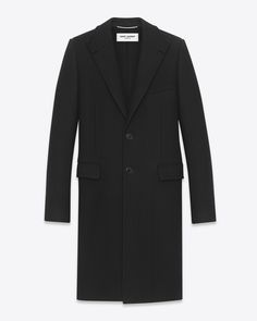 saintlaurent, Classic Stand-Up Collar Chesterfield Coat in Black Cashmere Mélange