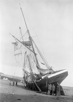 - 'Olympe' a two-masted schooner aground on the beach at Gunwalloe Church Cove Old Boats, Sail Boats, Waves On The Beach, Fishing Vessel, Full Sail, Shipwreck, Wooden Boats, Tall Ships, Fishing Boats