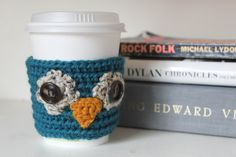 crochet coffee sleeve owl