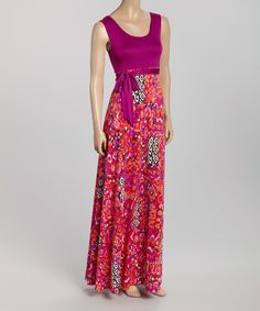 Another great find on #zulily! Fuchsia Geometric Sleeveless Maxi Dress #zulilyfinds